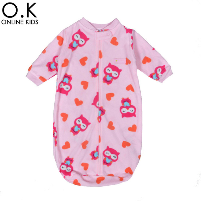 Newborn Baby Sleeping Bag Fleece Infant Baby Clothes Cartoon Animal Long-sleeved Romper Sleep Sacks Cute Sleeping Bags For 0-9M