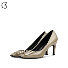 Купить с кэшбэком GOXEOU 2019 Women shoes new size 32-46Thin High Heels Sexy Square-headed   Handmade  High Heel  Free Shipping