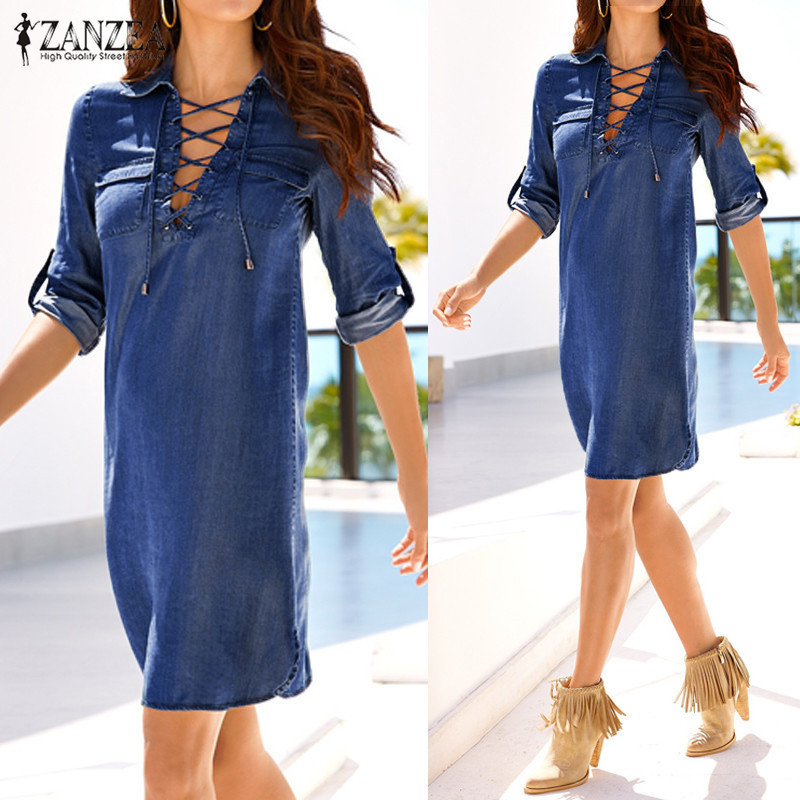 Vestidos 2018 көктемгі күзгі Retro Solid Denim Mini көйлек ZANZEA Әйелдер Casual Loose Lapel Long Sleeve Lace Up көйлек Plus Size