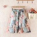 2017 Summer New Bohemian Chiffon Women Knee-length A-line Skirt Flower Print High Waist Loose One Size Tutu Skirt