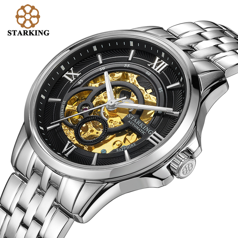 STARKING Men Skeleton Automatic Mechanical Watches Luxury Famous Brand Stainless Steel Sapphire Black Wrist Watch Urdu AM0182 tevise men black stainless steel automatic mechanical watch luminous analog mens skeleton watches top brand luxury 9008g