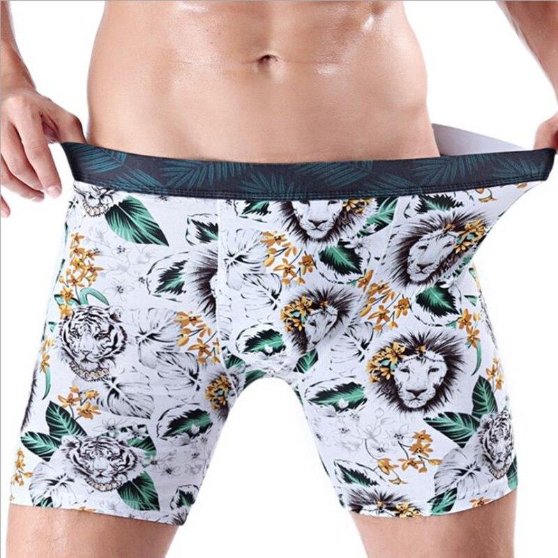 Sexy Men Underwear Cotton Flower Printed Wear-resistant Leg Boxers Shorts Cuecas  Long Leg Panties Male Underpants Calzoncillos