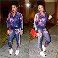 Новая Мода печати 2 шт. набор женщин брюки и топ случайные сексуальные женщины куртка С Длинным рукавом из двух частей Костюмы ансамбля femme
