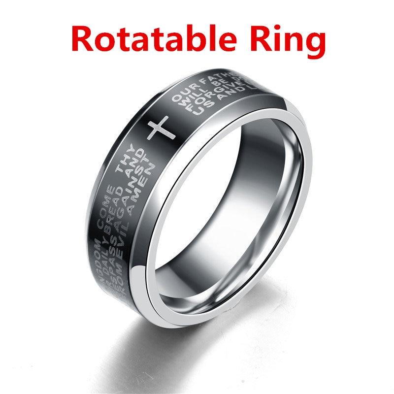 MANGOSKY 8 мм английская Serenity Библия молитва крест Нержавеющаясталь кольца для Для мужчин обручальное кольцо Обручение Поворотный кольцо