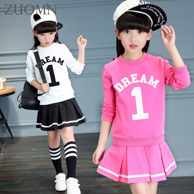Girls Clothing Sets Children Shirts Kids 2 PCS Sport Suit Girl Clothing Set Dress Baby Cuit Costume Outfits Sports Suits YL456 fashion kids baby girl dress clothes grey sweater top with dresses costume cotton children clothing girls set 2 pcs 2 7 years