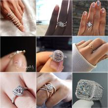 Fashion Ladies Wedding Zircon Ring Heart Geometric Silver Glamour Luxury Rhinestone Elegant Romantic Female Jewelry