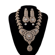 India Style Wedding Jewelry Set Crystal Rhinestone necklace earrings set Bridal Party Jewelry Accessories gold plated Earrings