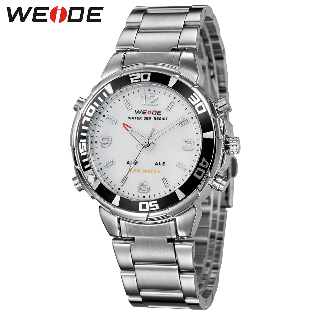 New WEIDE Army Watches Men's Full Steel Luxury Analog Digital Display Brand Quartz Military Sports Watch Free Shipping/WH843 hot sale brand military watch date display mens watches full steel watches men s sports army quartz watch free shipping 029b
