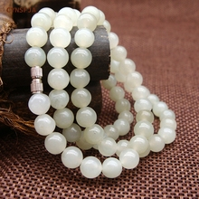 CYNSFJA Real Rare Certified Natural Hetian White Jade Nephrite Beads Necklace High Quality Fine Jewelry Wonderful Gifts
