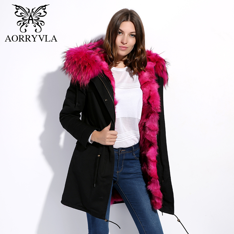 AORRYVLA Real Fur Women Parka Winter 2017 Army Green Large Raccoon Fur Collar Hooded Long coat Fox Fur Liner Jacket top quality 2017 winter new clothes to overcome the coat of women in the long reed rabbit hair fur fur coat fox raccoon fur collar