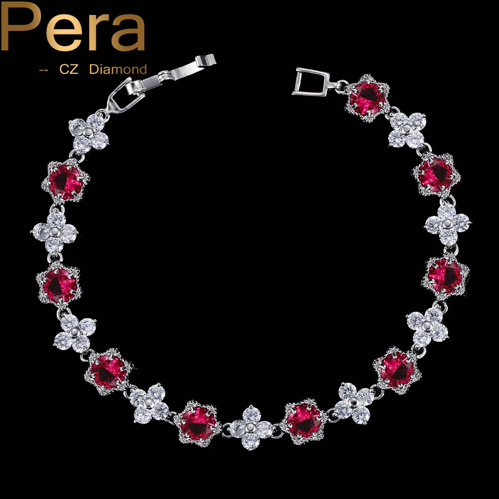 Pera Luxury 925 Sterling Silver Cluster Flower Shape Red And White Cubic Zirconia Bracelets Stone Party Jewelry For Women B018 chic flower shape and sequins embellished newsboy hat for women