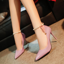 Free shipping new spring and beaded high-heeled shoes with thin pointed shoes sexy 10CM ultra high heel shoes