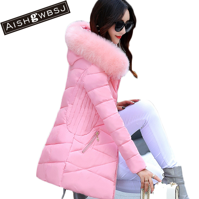 AISHGWBSJ Fur Collar Padded-Cotton Parkas Female Thicker Coats 2017 New Winter Jackets Medium-Long Hooded Overcoats Women PL141