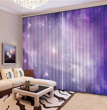 Purple star space Curtains Drapes Polyester/Cotton Curtains For Living Room Dream Sky Kids Bedroom Curtains Window Treatments(China)