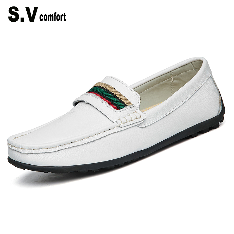 SV Brand Fashion Casual Men Shoes Genuine Leather Black White Luxury Slip-on Men Loafers Flats for Driving 2017 Chaussure Homme