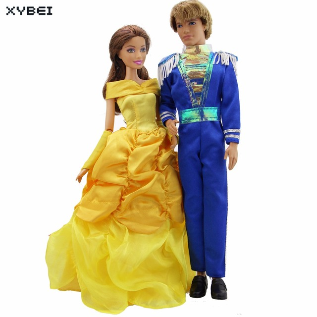 2x Modern Royal Outfits Prince Uniform Male Jumpsuits Golden Princess Dress  Gloves Clothes For Barbie Doll