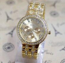 2016 Nouveau Luxe Genève Marque beauté Cristal montre femmes hommes robe de mode quartz montre-bracelet Relogio Feminino GE001