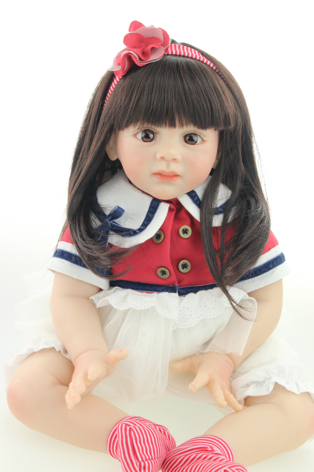 NPK 2017 new design 24inch Reborn Toddler baby doll Fridolin lifelike sweet girl real gentle touch 2015 new design 24inch reborn toddler baby doll rooted human hair fridolin lifelike sweet girl real gentle touch