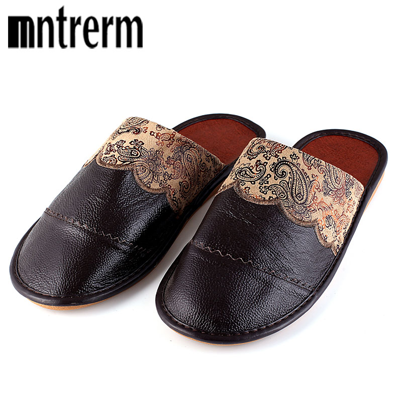 Mntrerm New Genuine Leather Men Slippers Spring Home Slippers High Quality Men Shoes Home Floor Shoe For Summer Black and brown