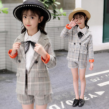 все цены на Kids Clothes Girl's suit 2019 spring and autumn new big boy cotton long-sleeved plaid suit + shorts 3-12 years Baby Girl Clothes