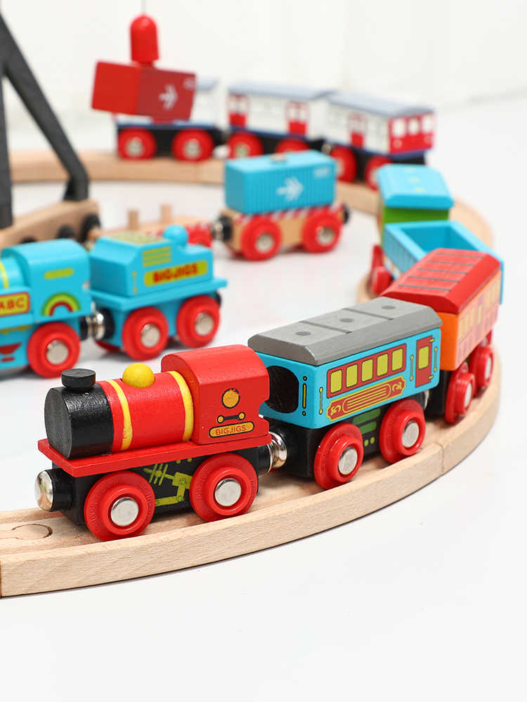 Wooden Magnetic Train Kids' Early Educational Toys Model DIY Track Set Car Accessories FIT T-hmas Wooden Brio Tracks Children's