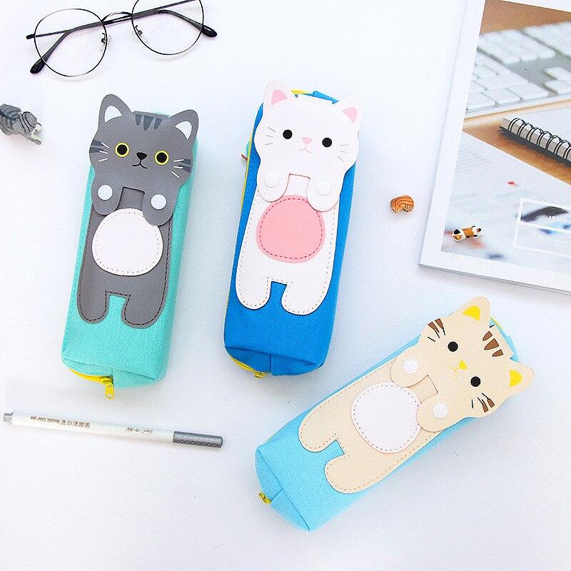 Korean Kawaii Cartoon Cat Pencil Bags Creative Cartoon Canvas Pen Case For Girl Gift Student Office Stationery School Supplies