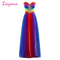 Linyixun Real Photo New Prom Dress Gradient Colorful Cheap Ombre Tull Evening Dress Sweetheart Beaded Pleats