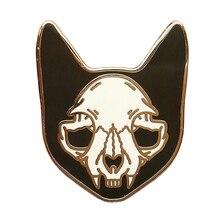 Кошка череп булавка забавная фантазия Скелет силуэт Брошь Панк ведьма модный значок Хэллоуин великолепные ювелирные изделия
