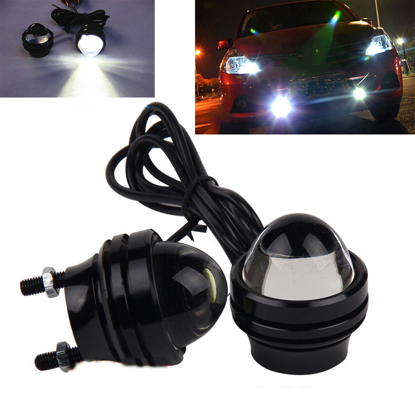 1 Pair Bright 15W Hawkeye White LED Car Headlight DRL Daytime Running Light Driving Fog Daylight Head Lamp With Strobe Function so k 4x p15d px15d t19 p15d 25 1 h6m 50w high power cree super bright motorcycle moto led headlight driving lamp drl white