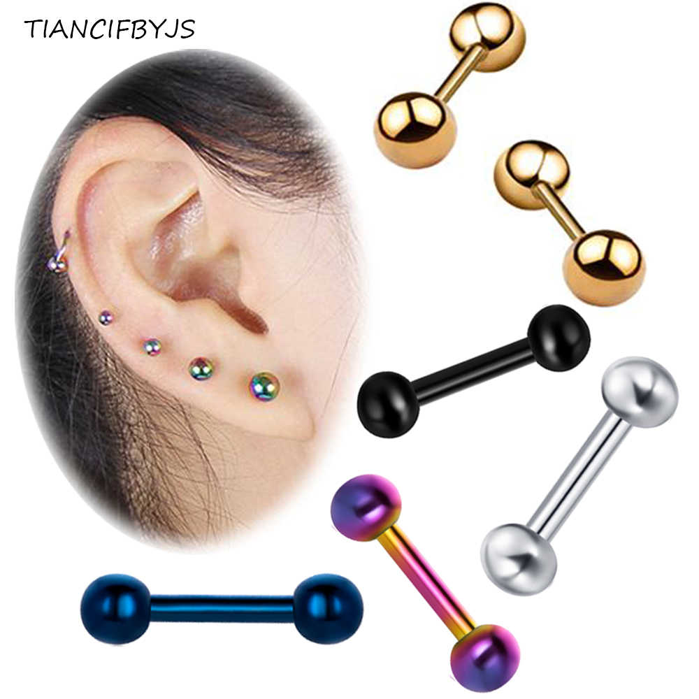 3mm Crystal 16G Stainless Steel Bar Ear Tragus Cartilage Helix Stud Earring
