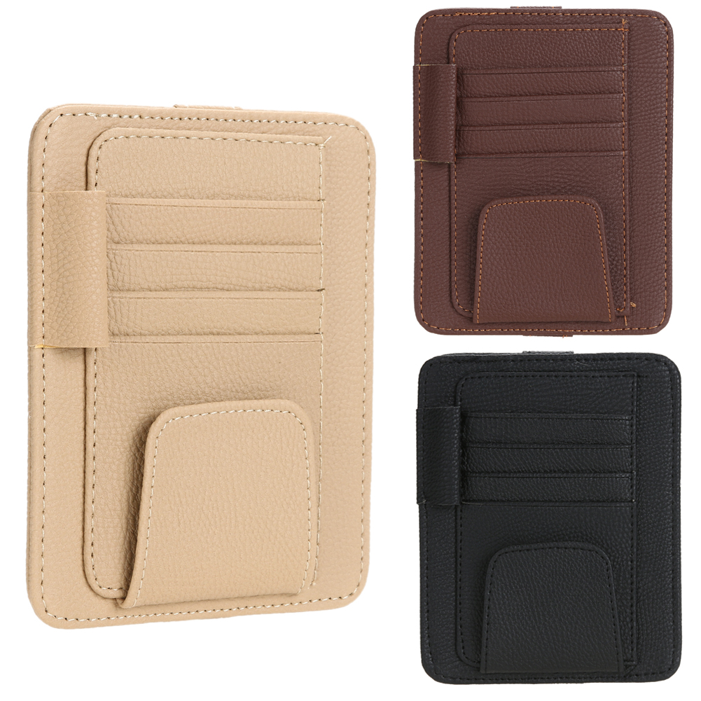 Universal Car Auto Sun Visor Glasses Sunglasses Pen Card Ticket Clip Holder Multiuse Suit Leather For Car Roof