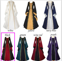Halloween Costume For Women Retro Victorian Renaissance Medieval Trumpet Sleeve Hooded Gown Dress