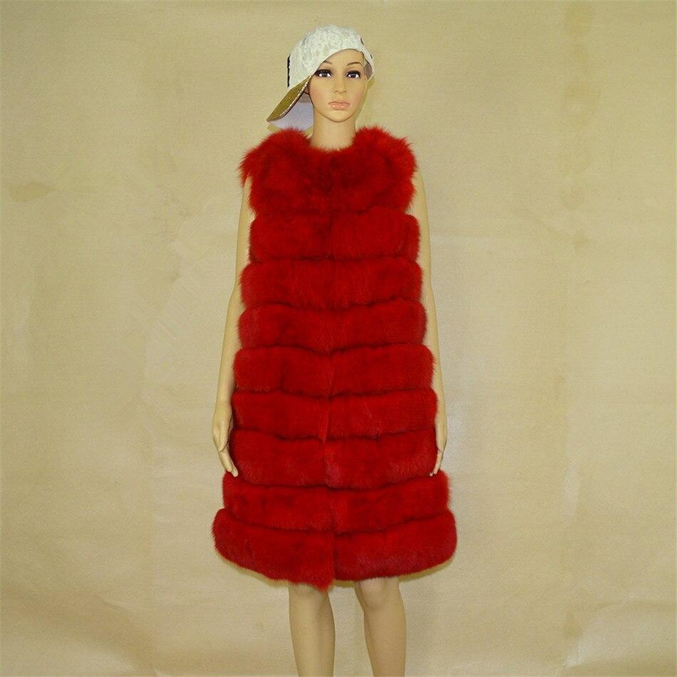 Gilets Taille Fourrure Réel Personnalisé Long 90 Outwear Rayures Hiver  Gilet Renard Femmes Manches Sans Manteau ... 7d63b62b3ad7