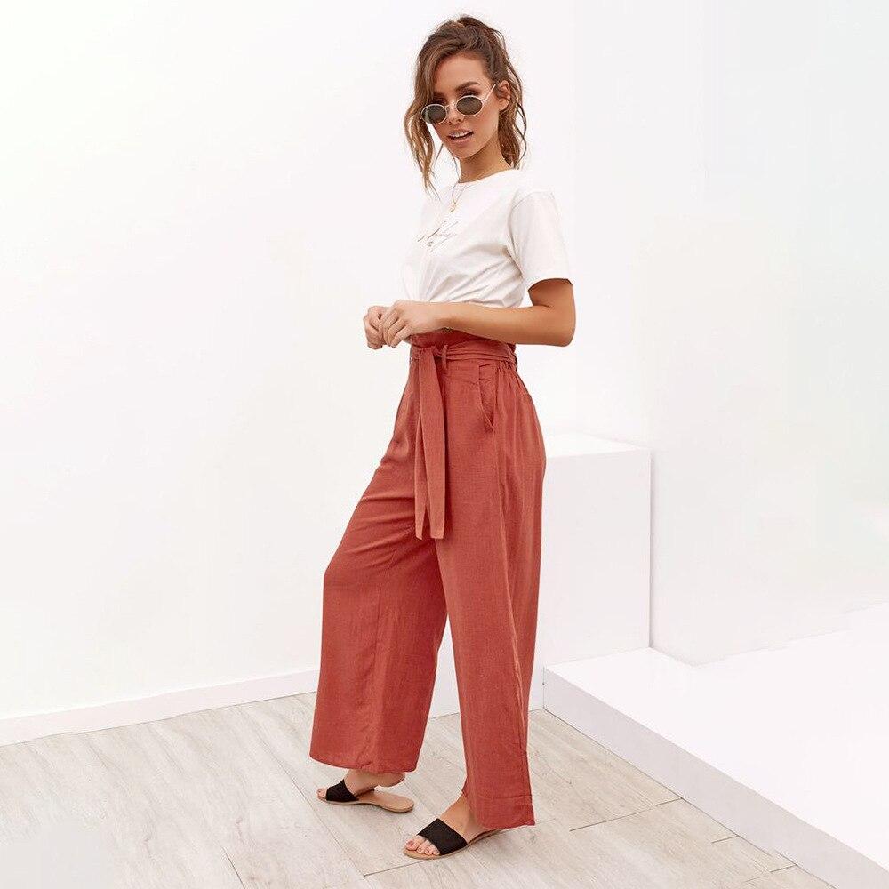 Casual Cotton Linen High Waist Wide Leg Pants 24
