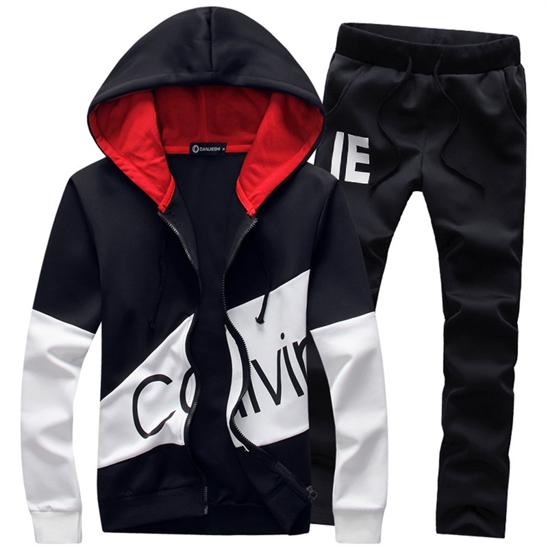 M-5XL Plus Size Fashion Brand Men Sets hooded tracksuit track 2018 sweat suits letter print male sweatsuit mens sporting suits