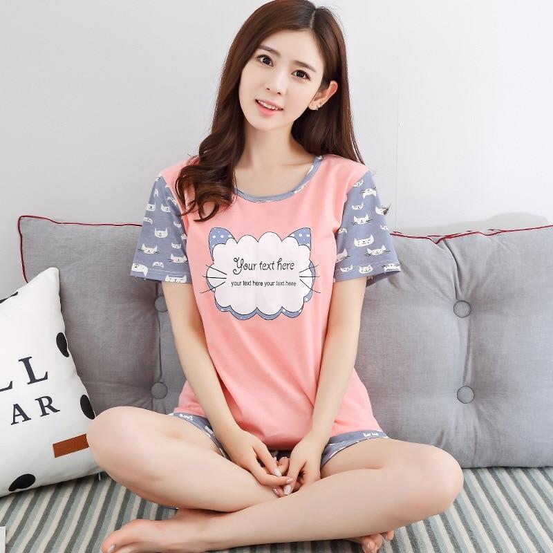 2019 Women   Pajamas     Set   WAVMIT Spring Summer Short Sleeve Thin Print Cute Sleepwear Big Girl Pijamas Mujer Leisure Student   Pajama