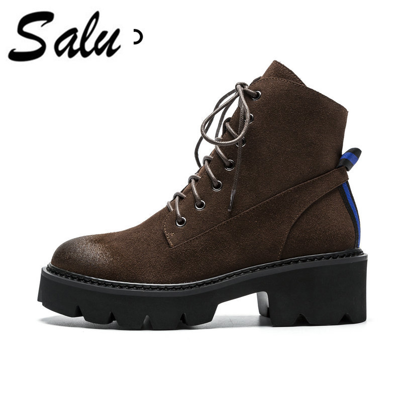 Salu 2018 new Women Genuine leather Ankle Boots Winter Warm Shoes Woman Lace Up High Heel Boots Platform Thick Heel Lady Shoes basic 2018 women thick heel ankle boots black pu fleeces round toe work shoe red heel winter spring lady super high heel boots