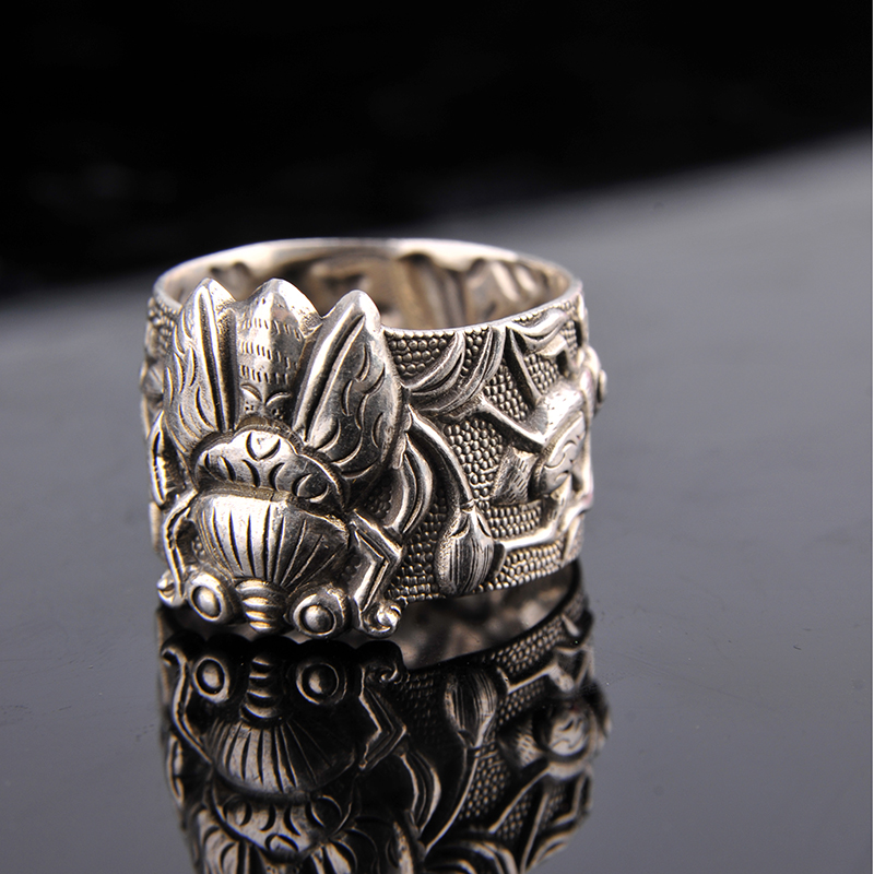 S999 argent pur rétro hommes et femmes anneaux émail rouleau anneau antique artisanat hommes bague en argent