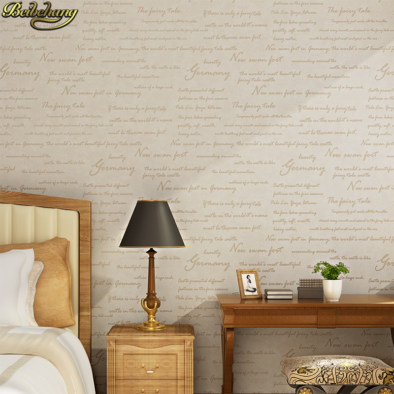beibehang Vintage non-woven classic English letters wallpaper roll for living room bedroom TV backdrop study room R230 wall pape beibehang modern minimalist velvet marble striped wallpaper non woven living room tv backdrop wall bedroom 3d wallpaper roll