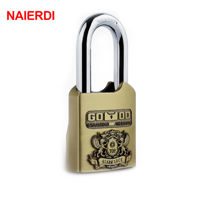 NAIERDI AL60 Waterproof Alarm Padlock 110dB Security Brake Disc Bicycle Locks SuperB Grade Lock For Home Bike Motorcycle Scooter trelock bicycle cable lock bike steel locks biking bicycle lock anti theft security level 3 cycling locks bicycle accessories
