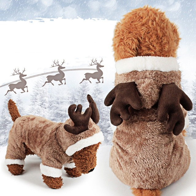 Plush Christmas Dog Costume Funny Elk Reindeer Deer Horn Clothes 4 Legs Cover Clothing Jacket Coat Hoodie Xmas Winter Warm Suit