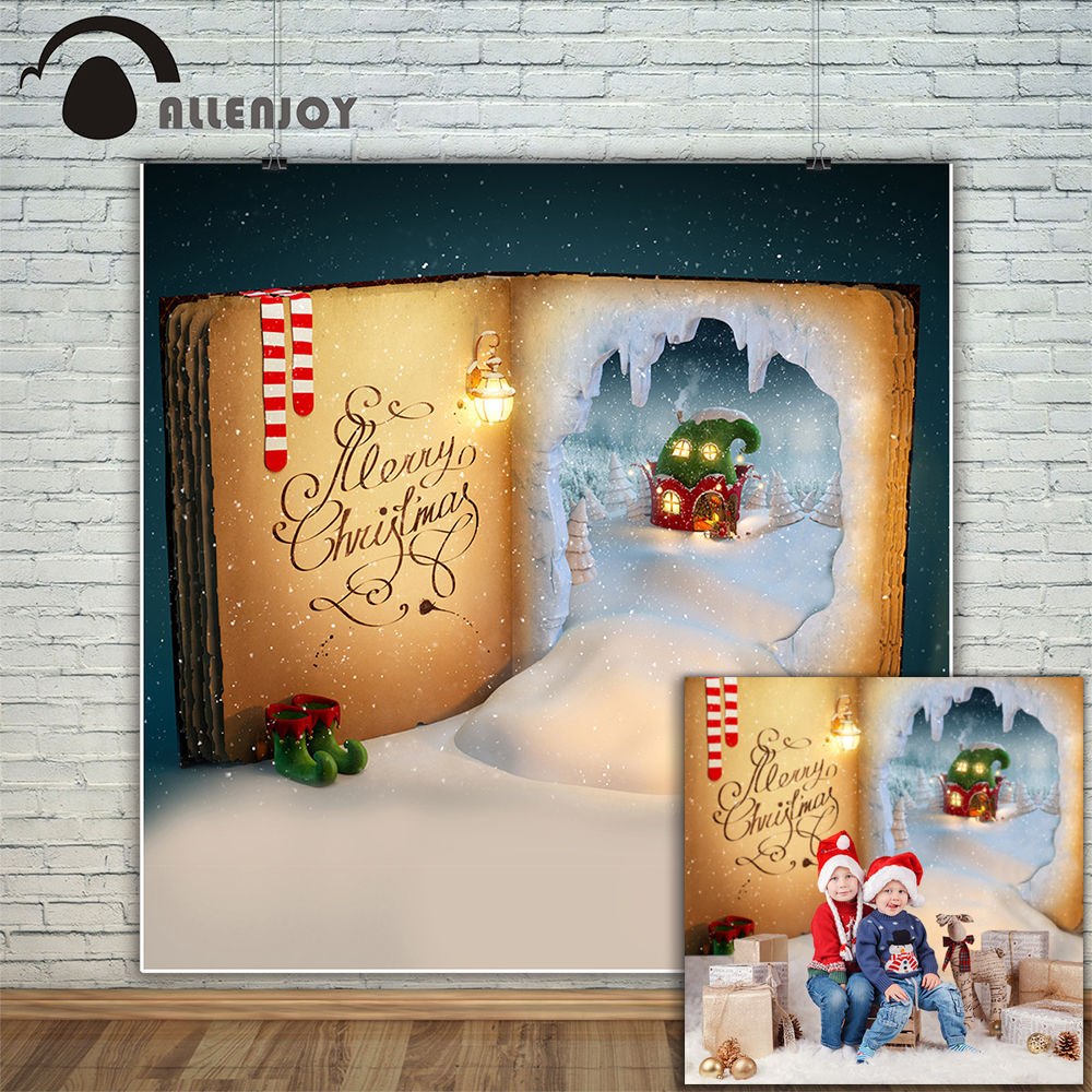 Allenjoy photography backdrop Christmas books Elven House Socks shoes snow background photo studio new design camera fotografica christmas backdrop photography allenjoy snow cap winter snowflakes background photographic studio vinyl children s camera photo