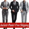 Envío libre de los hombres Sistema Del estilo fija el Juego de Vestir trajes de los hombres de la boda del novio de negocios, chaqueta + pantalones de Asia tamaño: XS-XXXL
