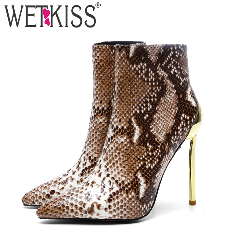 WETKISS New Ankle Women Boots Pointed Toe Printing Short Plush Footwear Sexy Party Booties Spool High Heels Female Shoes Winter