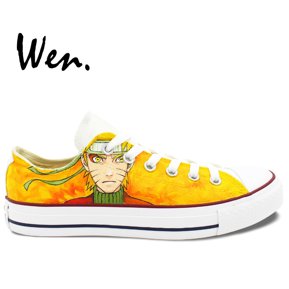 Wen Hand Painted Yellow Casual Shoes Custom Design Uzumaki Naruto Low Top Canvas Shoes for Men Women's Christmas Birthday Gifts e lov fashion brand custom hand painted taurus horoscope canvas shoes low top casual shoes espadrilles design for lovers