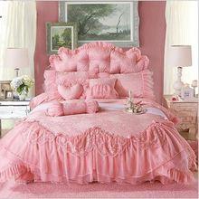 Жаккардовая кружева принцесса постельный комплект роскошные свадебные постельного белья Queen King постельное белье лист Boho постельное белье юбка