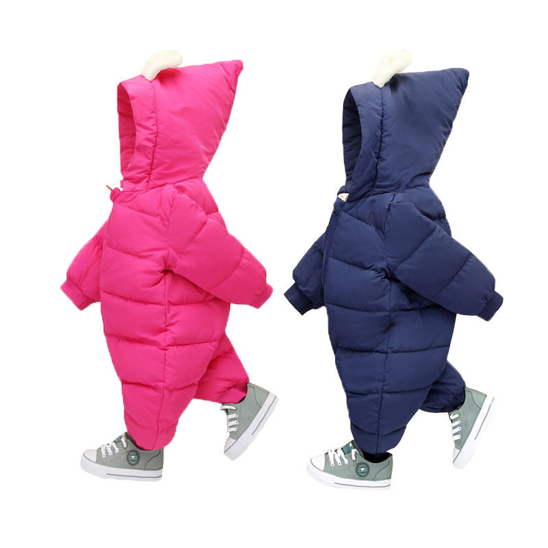 2017 Baby Snowsuits Hooded Rabbit Jumpsuit Down Cotton Jacket For Boys Girls Cashmere Warm Coats Kids Clothes Infantil Rompers down the rabbit hole
