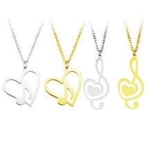 d98d9ec6f878 Nuevo diseño de moda minimalista Simple hueco corazón en forma de nota  Musical colgante de acero inoxidable collar joyería Acces.