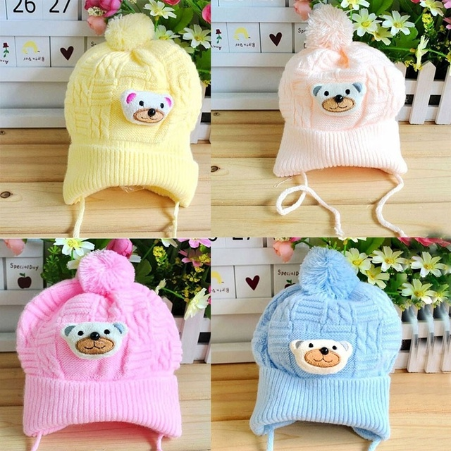 8a6a36d4990 1PCS New Baby Boy Girl Toddler Cute Soft Crochet Bear Hat Beanie Warm Newborn  Cap Hot sale