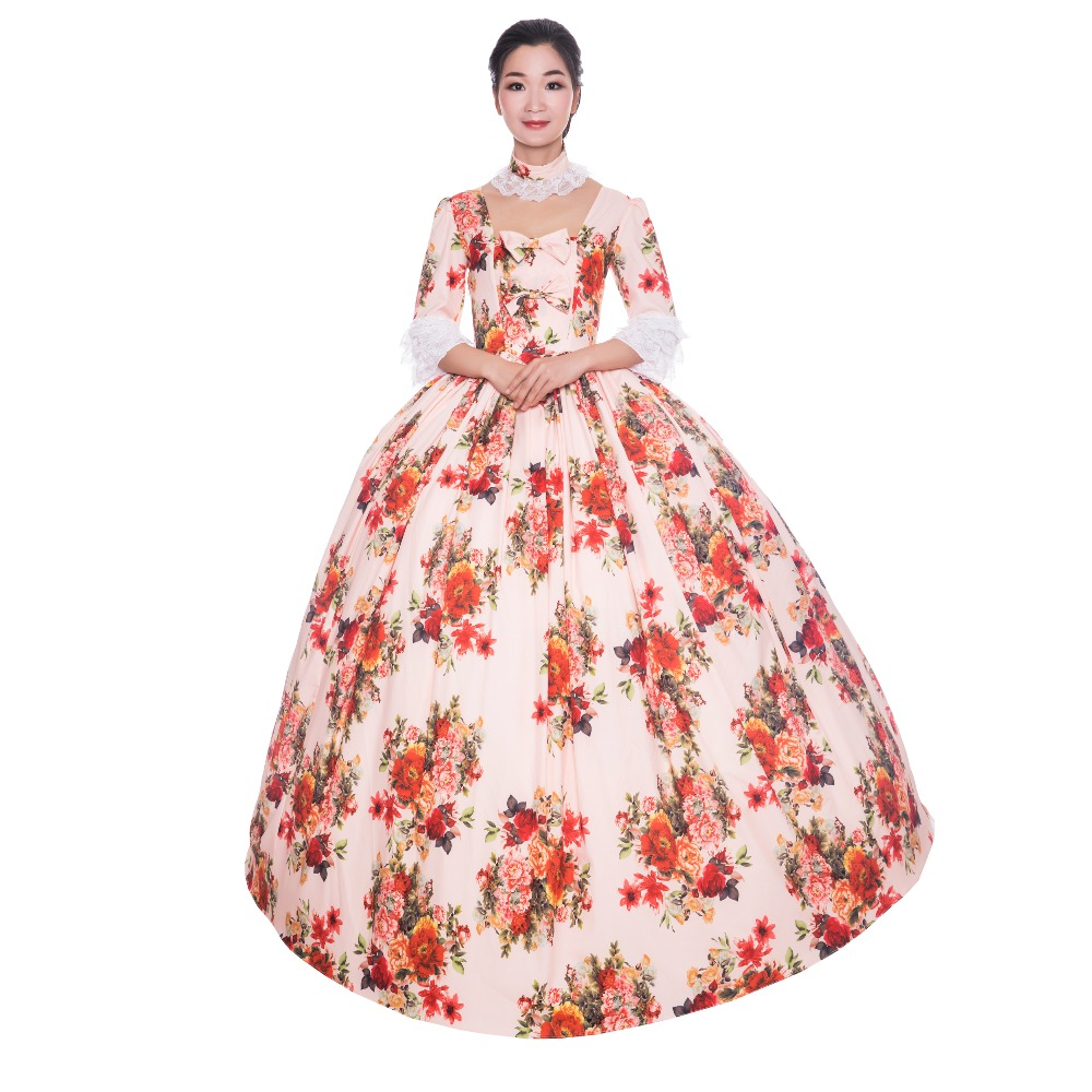 18th Print Princes Elegant Dress Embroidery Dress 1/2 Full Sleeve Theater Dress Flower Ball Gown Victorian Dress - 1